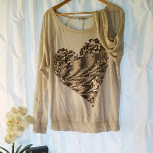 Express Women's Top with Sequins Heart